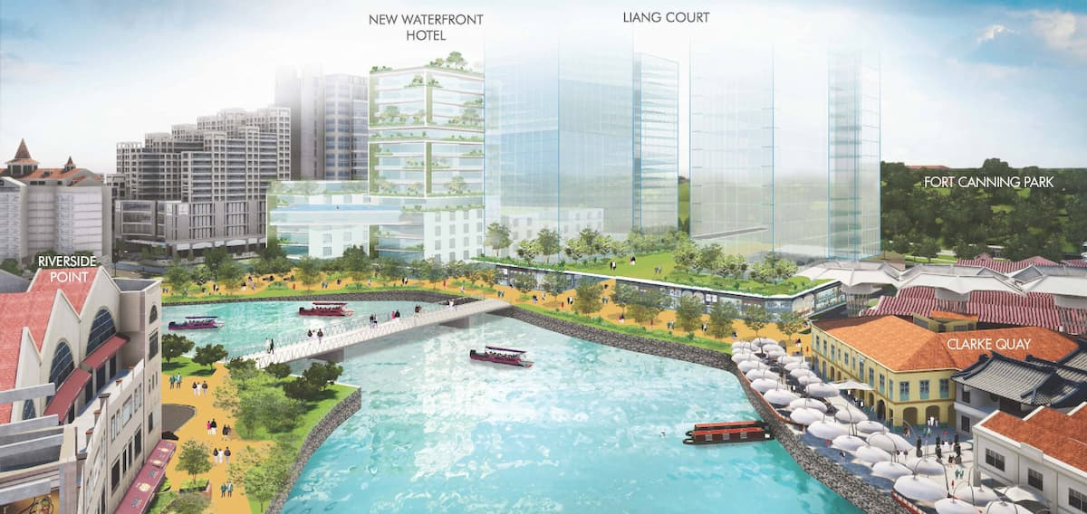 Artist impression of riverside promenade at Clarke Quay by Canninghill Piers